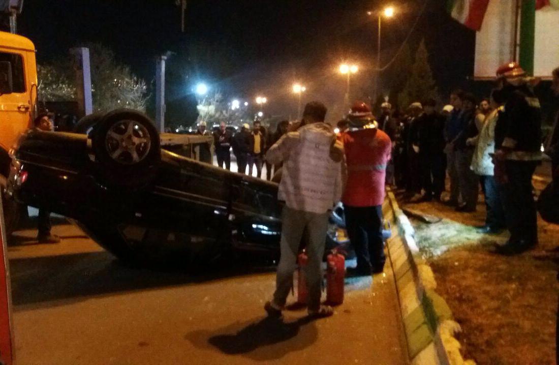 واژگونی خودرو در زیباکنار خرم آباد