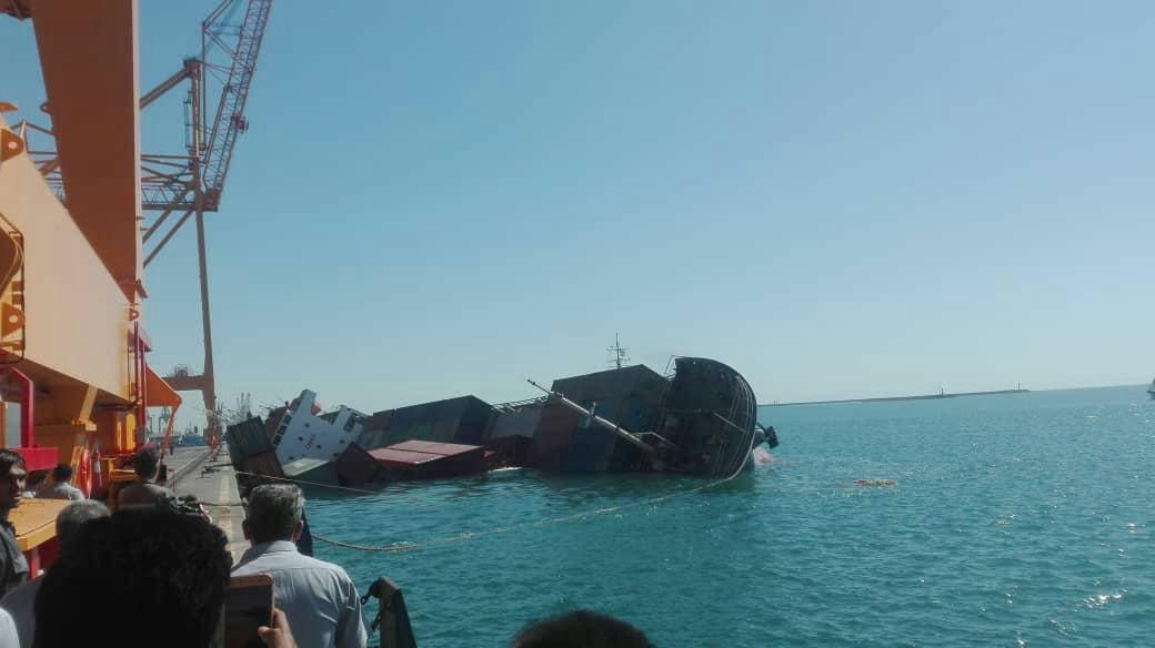 غرق شدن غرق شدن کشتی در اسکله شماره ۲۵ بندر شهید رجایی
