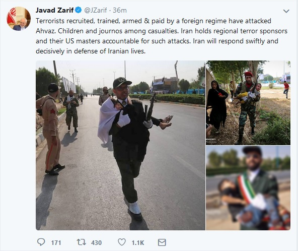 واکنش ظریف به حادثه تروریستی اهواز