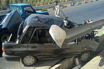 یک کشته و 2 مجروح در تصادف یک خودرو پراید با گاردیل