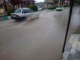 آب گرفتگی معابر و خیابان های ندوشن