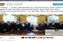 ترامپ دستور ساخت خط لوله جنجالی انتقال نفت را صادر کرد