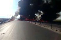 تانکر نفت در جاده حمیل منفجر شد