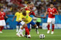 پایان نیمه اول دیدار سوئیس و برزیل با برتری برزیل