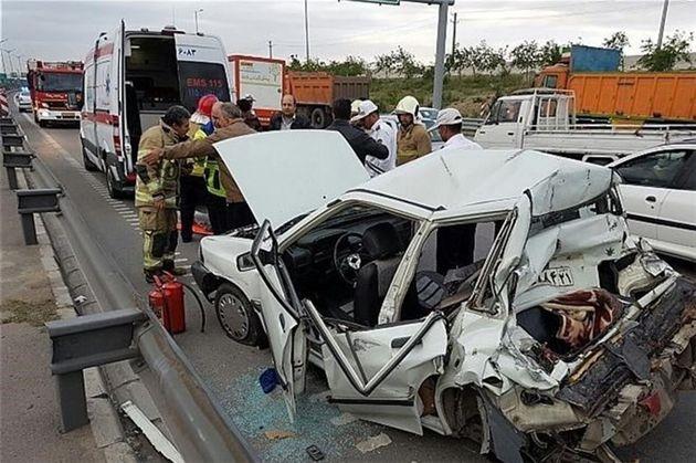 7 مسافر به دلیل برخورد سواری پراید مصدوم شدند