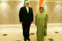 دیدار ظریف با وزیر امور خارجه هند