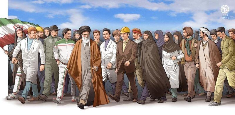 نکته جالب و مهم در تصویرسازی بیانیه گام دوم رهبر معظم انقلاب/ پرچم انقلاب در دست بانوان است