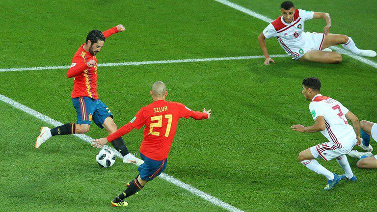 تساوی یک بر یک اسپانیا و مراکش در نیمه نخست