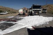 انسداد موقت در محور فیروزکوه به دلیل واژگونی تریل حامل گاز
