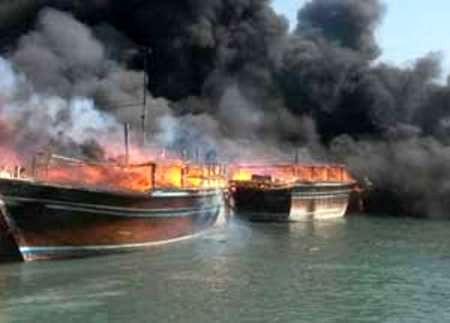 شمار لنجهای سوخته در اسکله کنگان بوشهر به 13 فروند رسید