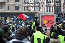 درگیری معترضان جلیقه زرد با نیروهای پلیس در پاریس