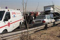 برخورد مرگبار خودروی پراید و سمند در محور قدیم قم - اصفهان