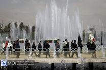 تشییع شهدای گمنام دفاع مقدس در نمایشگاه بین المللی تهران