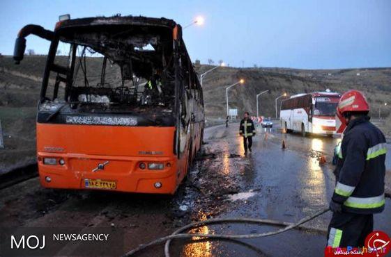 یک دستگاه اتوبوس در محور خرم آباد - پل زال دچار حریق شد