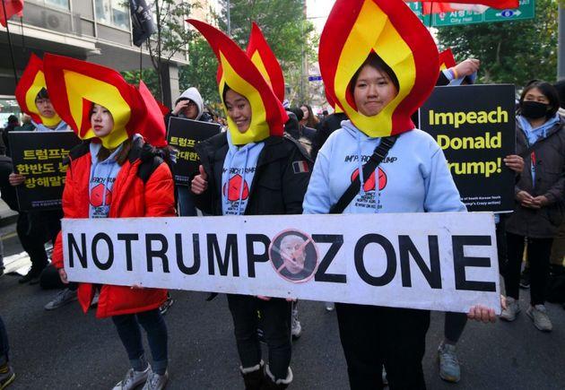 برگزاری تظاهرات ضد آمریکایی در سئول
