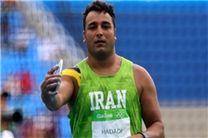 احسان حدادی قهرمان پرتاب دیسک آسیا شد/اولین مدال ایران به رنگ طلا
