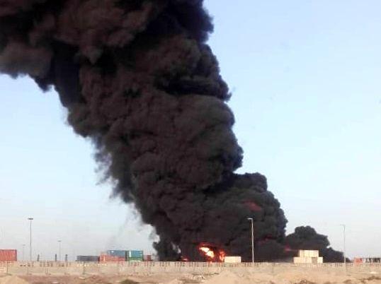 آتش سوزی در بزرگترین بندر تجاری ایران