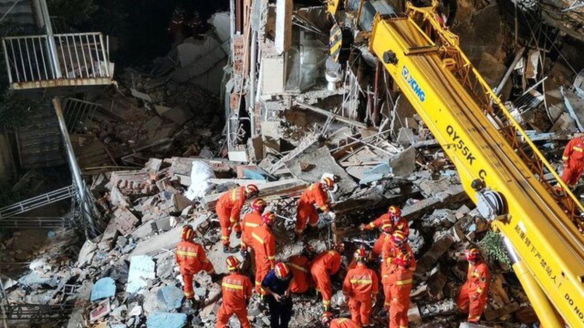 ریزش ساختمان هتلی در چین با ۱۷ کشته