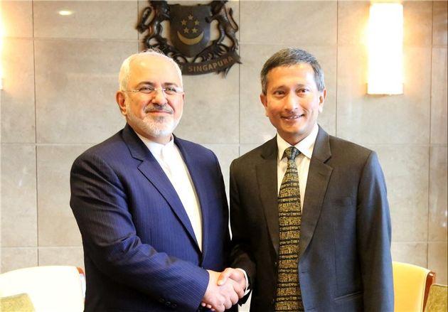 ظریف با وزیر امور خارجه سنگاپور دیدار کرد