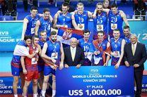 یک میلیون و ۸۰۰ هزار دلار پاداش سه تیم برتر لیگ جهانی والیبال