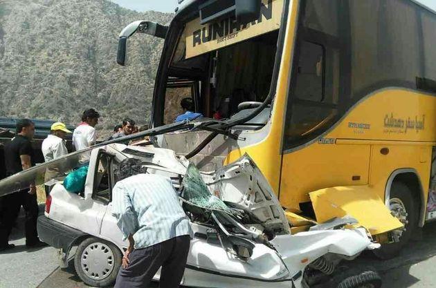 برخورد اتوبوس با پراید /یک فوتی و یک مصدوم در پی این حادثه