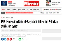 ابوبکر البغدادی بر اثر بمباران هوایی آمریکا کشته شده است