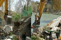 تخریب برخی ساخت و سازهای غیرمجاز در بستر و حریم رودخانه زاینده رود