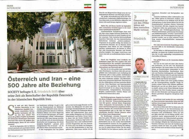 ویژه نامه ایران در شماره جدید مجله سوسایتی اتریش