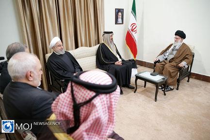 دیدار امیر قطر و هیات همراه با مقام معظم رهبری