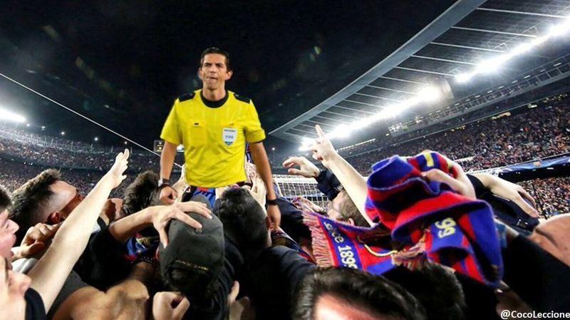 داور جنجالساز بازی بارسا - پاریسنژرمن در آغوش هواداران بارسلونا + عکس