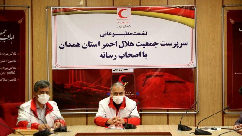توزیع 3300 سبد معیشتی به آسیب دیدگان کرونا توسط هلال احمر استان همدان