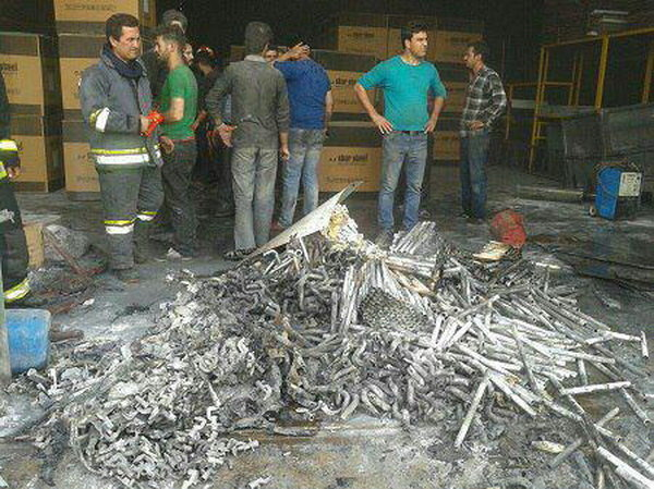 مهار آتش در کارخانه تولیدی اجاق گاز