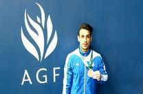 مدال برنز ژیمناستیک باکو بر گردن خنارینژاد