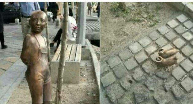 مجسمه کودک در میدان ونک ربوده شد