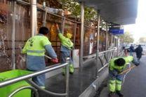 شستشوی ایستگاه های اتوبوس بی آر تی خیابان حضرت ولی عصر(عج)