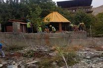 تخریب ساخت و سازهای غیر مجاز حریم رودخانه در شمیرانات