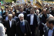 رییس جمهوری در راهپیمایی روز قدس حاضر شد