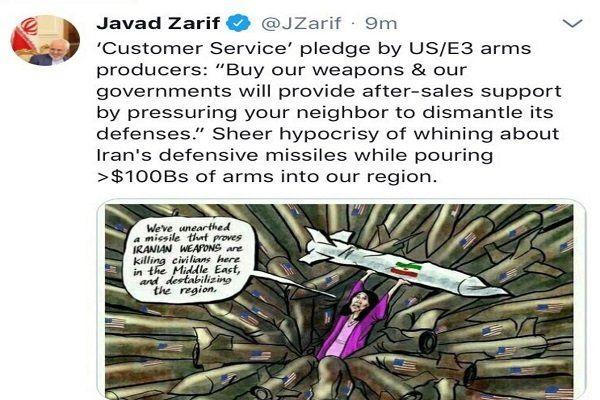 روایت توئیتری ظریف از تزویر مطلق شاکیان برنامه موشکی ایران