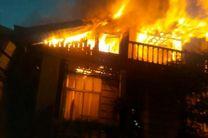 مهار  آتش سوزی شدید خانه ویلایی در پل طالشان رشت