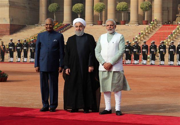 استقبال رسمی از روحانی در کاخ ریاست جمهوری هند