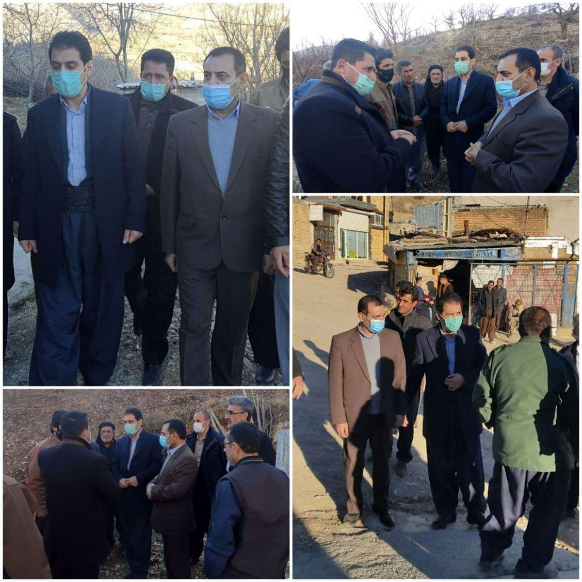 بازدید نماینده اورامانات و مدیرعامل شرکت آبفا کرمانشاه از روستاهای شهرستان جوانرود